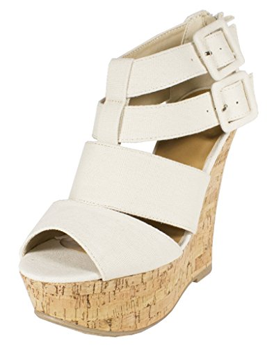 Lustacious Women's Peep Toe Strappy Bandage Gladiator Inspired Buckle Straps Platform Wedge Back Zipper, Beige Cork Canvas, 7 M ()