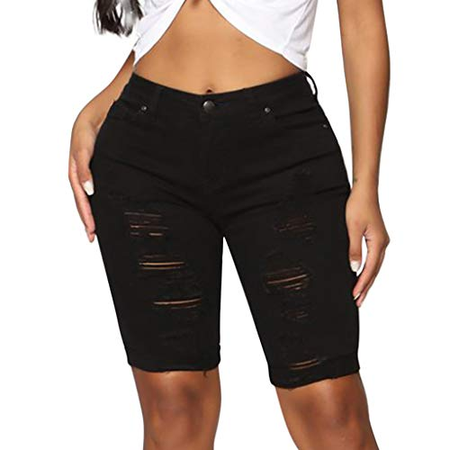 Botrong Fashion Women Casual Skinny Jeans Hole Denim Female Mid Waist Shorts Pants (Black,M) ()