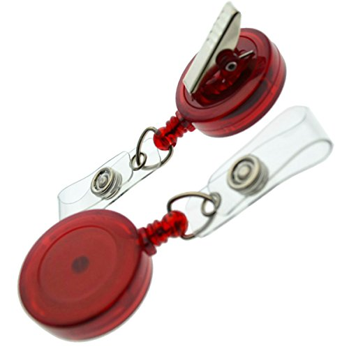 25 Pack Translucent Retractable Badge Reels with Alligator Swivel Clip by Specialist ID (Red)