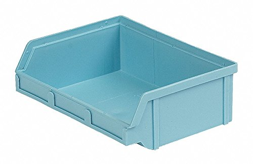 Hang and Stack Bin, Light Blue, 6-5/8'' Outside Length, 8-3/4'' Outside Width, 2-7/8'' Outside Height pack of 5