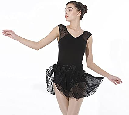 88ebd21de9 Image Unavailable. Image not available for. Color  ModLatBal Women s Lace Sleeve  Ballet Leotard Skirted Gymnastics Dance Dress