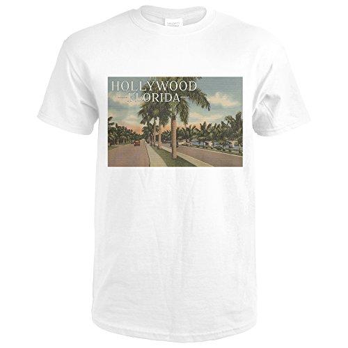 Hollywood, Florida - Boulevard and Vintage Cars - Vintage Postcard (Premium White T-Shirt (Boulevard Postcard)