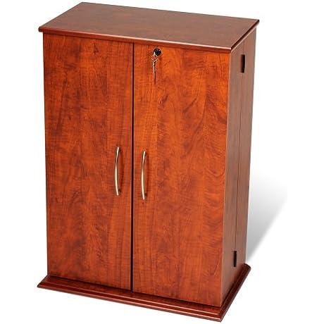 Cherry Black Locking Media Storage Cabinet