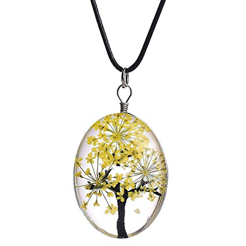 - Retro Jewelry Dried Flower Necklace Tree Of Life Shaped Leather Rope Glass Long Pendant Necklace For Women H07
