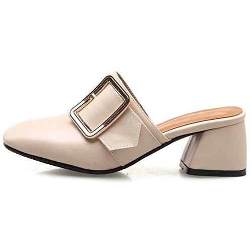 Mules Tacon Mujer Ancho Beige Shoes RAZAMAZA tvqSWUnn