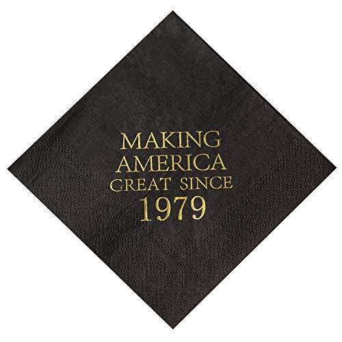 (Crisky 40th Birthday Napkins Black and Gold Dessert Beverage Cocktail Luncheon Napkins 40th Birthday Decoration Party Supplies, Making America Great Since 1979, 50 Pack 4.9
