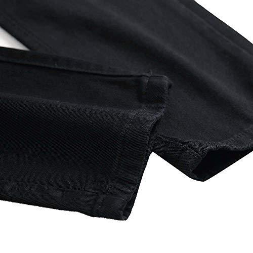 Logobeing Otoño de Vaqueros Ajustados de Slim Negro Algodón Hombre Rasgados Jeans Biker Pantalones Vaqueros Pantalón Casual Pantalones Fit Mezclilla de rzpTErwq