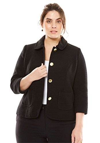 Polished Cotton Blazer (Jessica London Women's Plus Size The Textured Tweed Crop Blazer Black,24)