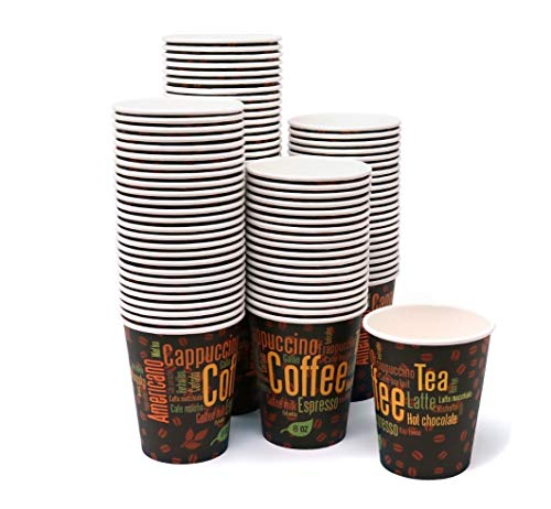 - Premium Paper Disposable, Hot and Cold Cups, Coffee Design Cups 10 oz. Capacity, Value Pack of 100 Cups