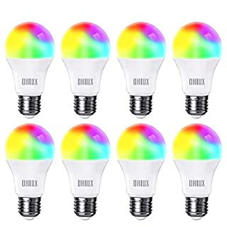 OHLUX Smart WiFi LED Light Bulbs 100W Equivalent 900Lumen Compatible with Alexa and Google Home (No Hub Required), RGBCW Multi-Color, Warm to Cool White Dimmable, 9W E26 A19 Color Changing Bulb-8PACK