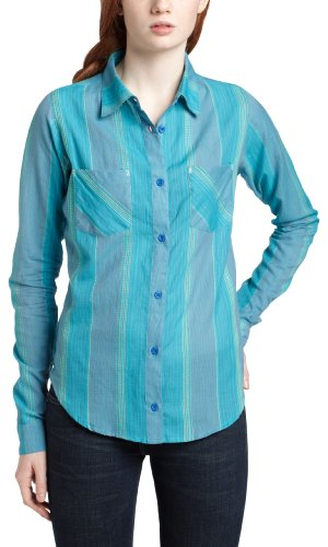 Rip Curl Juniors Oceanic Button Down Top,Amparo Blue,Medium