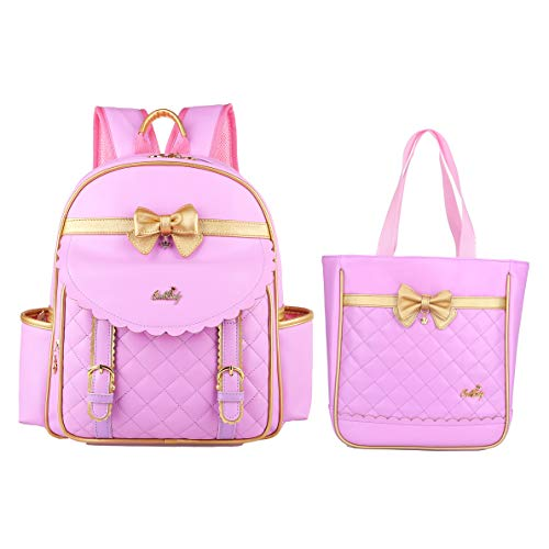 Gazigo Children Princess Waterproof PU Backpack for Elementary School Girls (Small:14.5 x 11.4 x 5.1 inch