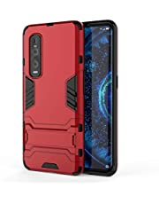 Wuzixi Case for Oppo Find X2 Pro. Sturdy and Durable, Built-in Kickstand, Anti-Scratch, Shock Absorption, Durable, Cover for Oppo Find X2 Pro.Red