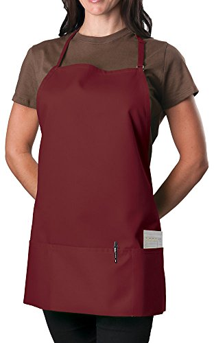 6 Pack - Burgundy Adjustable Bib Apron - 3 Pocket