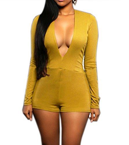 YiYaYo Women's Plunge V Neck Long Sleeve One Piece Bodysuit Jumpsuit Yellow L -