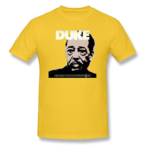 - LENOJE Men's Jazz Duke Ellington Cotton T Shirts Yellow L