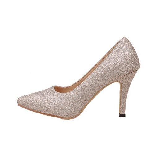 Puro Punta Tacco Oro Luccichio Tirare Ballerine Scarpe A Donna Alto VogueZone009 qRnt10xw