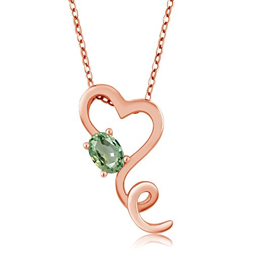 Gem Stone King 0.55 Ct Oval Green Sapphire 18K Rose Gold Plated Silver Pendant With Chain
