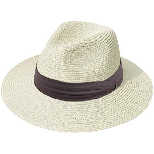 Lanzom Women Wide Brim Straw Panama Roll up Hat Fedora Beach Sun Hat UPF50+ (Z-Light Coffee Ribbon Beige)