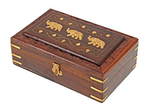 Christmas Thanksgiving Gifts Decorative Wooden Jewelry Trinket Holder Keepsake Storage Box Organizer with Intricately Hand Carved Elephant Brass Inlay & Velvet - Treasure Chest Brass