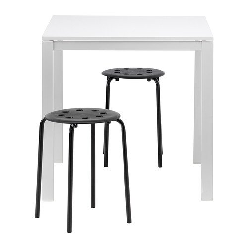 Ikea Table and 2 stools, white, black 20202.5523.2618