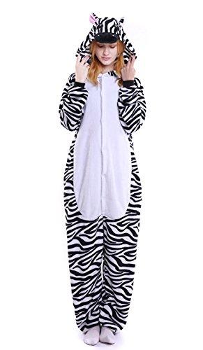 Zebra Adults Costume (LeaLac Unisex Onesie Halloween Costume Adult Animal Cosplay Pajamas Zebra)