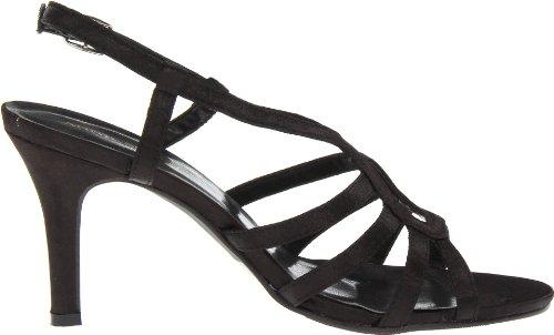 Scarpe Annie Donna Sandie Sandalo Con Cinturino Nero Satinato