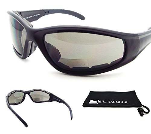 Price comparison product image Motorcycle Bifocal Safety Sunglasses Padded +2.00 ANSI Z87.1 Polycarbonate Lens. Free Microfiber Cleaning Case.