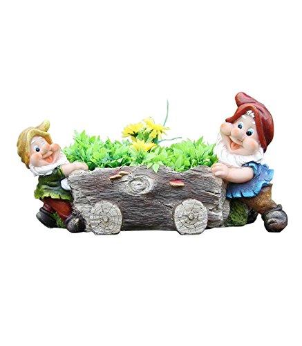 SINTECHNO SNF91207 Cute Gnome Push Tree Log Flower Pot Planter ()