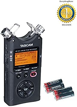 Tascam Dr 40 Linear Pcm Recorder 96 Khz 24 Bit With 4 Free Universal Electronics V2 Version 2 Aa Batteries Musical Instruments