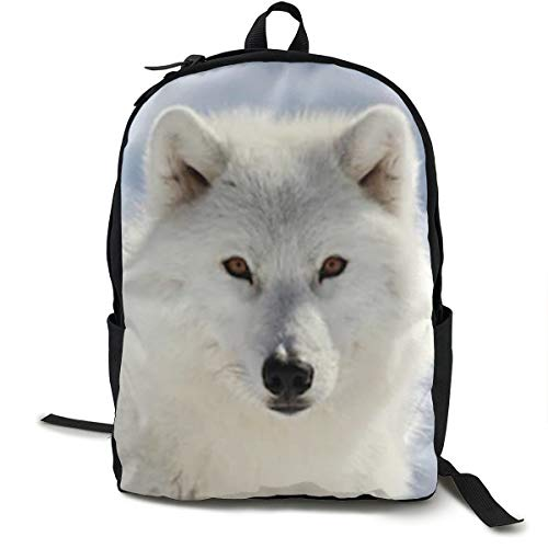 Canvas Print Arctic - Big Arctic Wolf 3D Print Backpack School Bag Travel Backpack Multi-purpose Shoulder Bag Canvas Bag