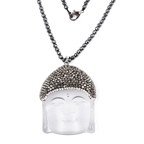 Crystal Dark Silvertone White Glass Hematite Buddha Pendant with Beads Necklace for Women Jewelry 32