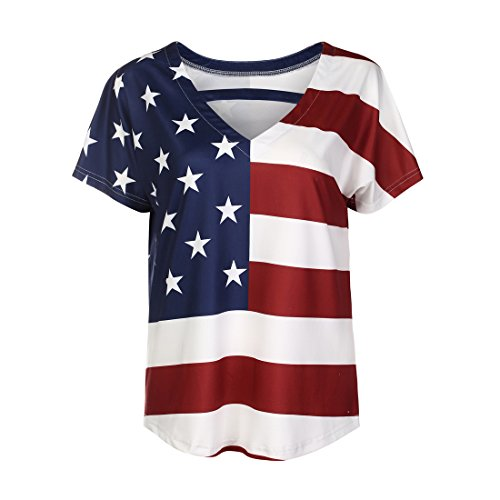 MUMUBREAL Women's American Flag Shirt 4th of July Patriotic Tank Top T Shirt Model 1 4XL -