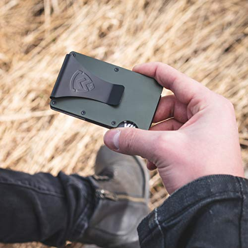 Armour RFID Wallets For Men - Slim Minimalist Tactical Smart Credit Card Holder - Includes Money Clip, Multitool & Key Holder (OD Green)