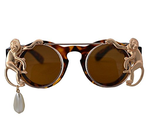 QMOT Double flip sunglasses monkey pearl chain retro round - Chain Sunglasses Gucci
