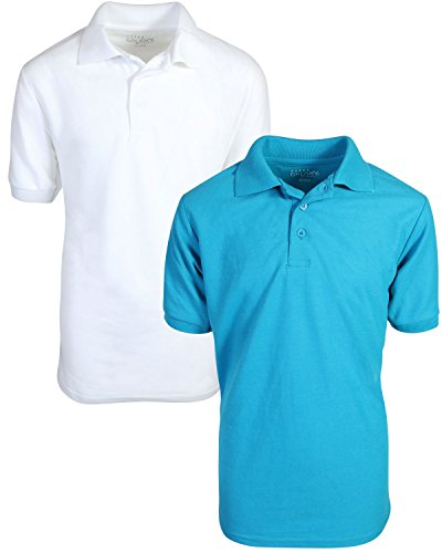 Turquoise Polo Dress - Galaxy by Harvic Boy's School Uniform Short Sleeve Pique Polo (2-Pack), White/Turquoise, Medium'