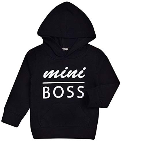 (Kids Baby Boy Girl Hooded Sweatshirt Tops Casual Hoodie with Pocket Fall Winter (Mini Boss, 0-6)