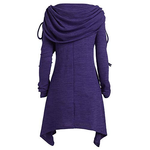 GOVOW Autumn Long Sleeve Womens Casual Fashion Solid Ruched Long Foldover Collar Tunic Blouse Tops(US:8/CN:XL,Purple) by GOVOW (Image #2)'