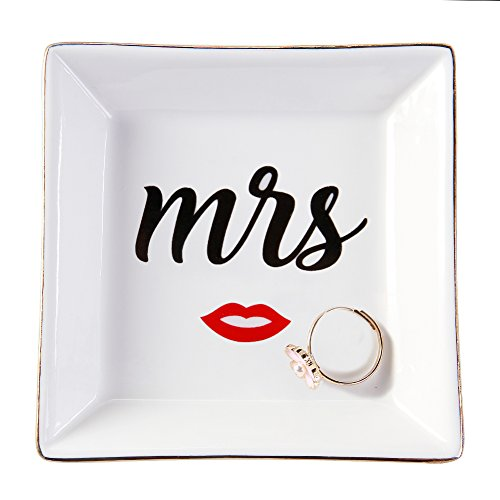 HomeSmile Ceramic Mrs Ring Dish Decorative Trinket Plate Engagment Wedding Gifts for Newlyweds and Bridal