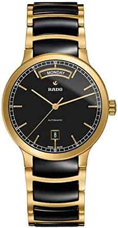 Rado Centrix Day-Date Black Dial Gold-plated Black Ceramic Mens Watch R30157162