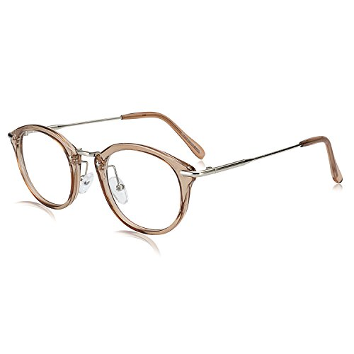40a6876754 1 · ROYAL GIRL Small Round Glasses Women Metal Frame Clear Lens Vintage  Eyeglasses (Light Coffee