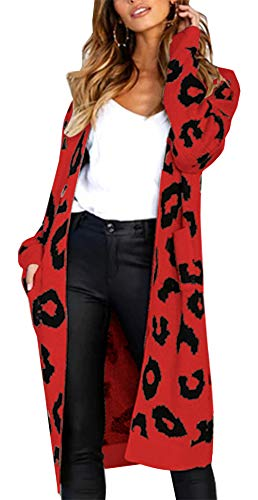(BTFBM Women Long Sleeve Open Front Leopard Knit Long Cardigan Casual Print Knitted Maxi Sweater Coat Outwear with Pockets (Red, Large))