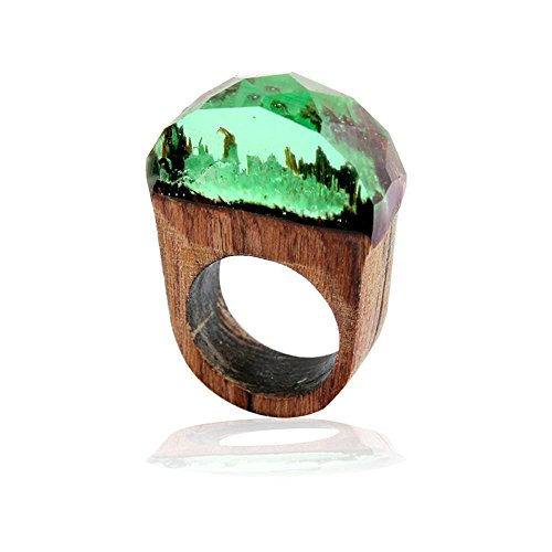 1pc 19mm Handmade Wood Resin Ring with Magnificent Tiny Fantasy Secret Landscape by Handmade Wood Resin Ring with Magnificent Tiny