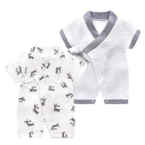 - JooNeng Newborn Baby 2-Pack Cotton Kimono Robe Romper One Piece Toddler Unisex Cute Short Sleeves Pajamas Sets,Grey Dog