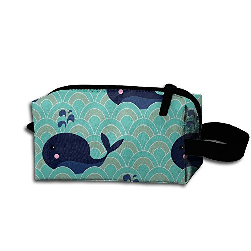 Portable Unisex Travel Makeup Bag Cute Whale Water Spray Diagram Seamless Pattern Toiletry Pouch Kit Medicine Bag