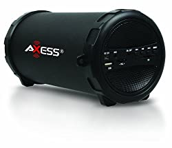 "Axess Spbt1031 Portable Bluetooth Indooroutdoor 2.1 Hi-fi Cylinder Loud Speaker With Built-in 3"" Sub & Sd Card, Usb, Aux Inputs In Black"