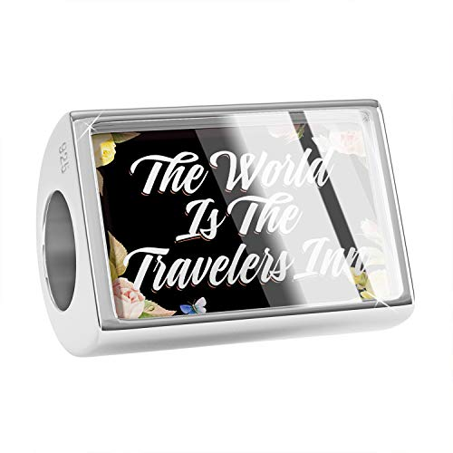 NEONBLOND Charm Floral Border The World is The Travelers Inn 925 Sterling Silver Bead