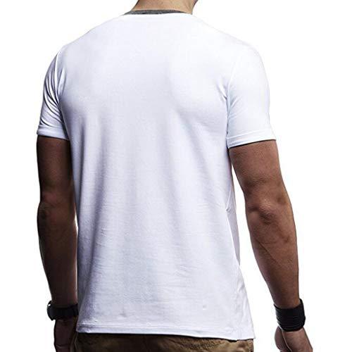 Camicia Risvolto Copertura Fit Bodybuilding Irregolare Cerniera Slim Pullover Eleganti Maglietta Patchwork Shirt Top Estiva Uomo T Bianco Poliestere Musclealive Manica Corta jc5q34ALR