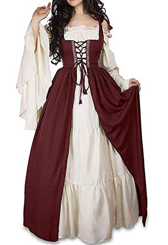 Abaowedding Womens's Medieval Renaissance Costume Cosplay Chemise and Over Dress Small/Large Wine Red and