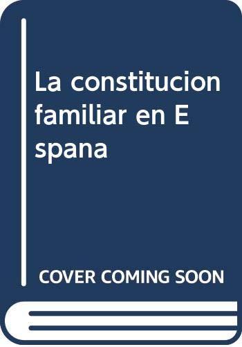 La constitucion familiar en España: Amazon.es: Anna Cabre Pla, Fundac.Bbva: Libros